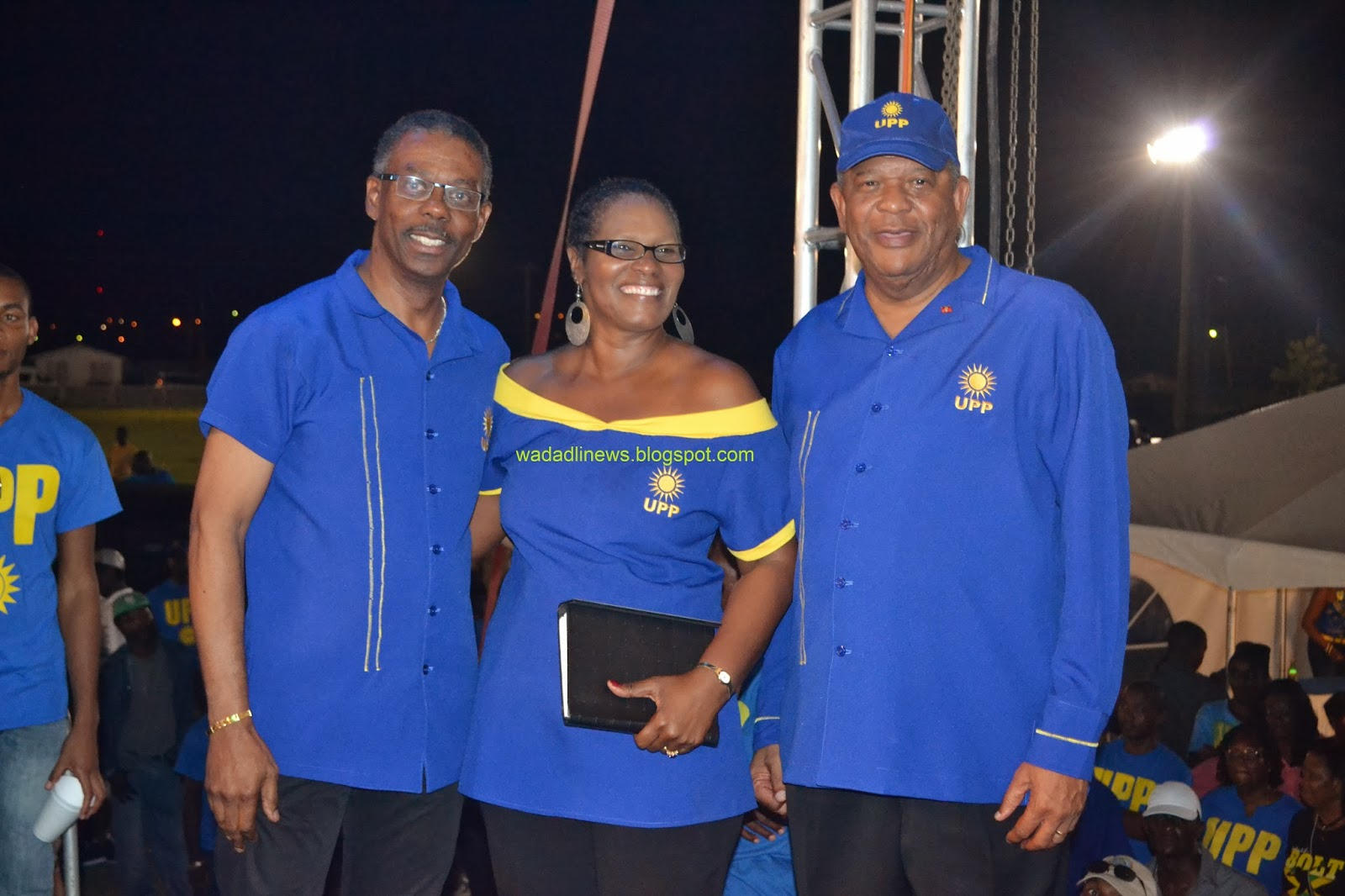 UPP Political Leader Harold Lovell, Opposition Leader Baldwin Spencer and Sister Jacqui